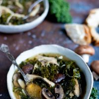 Instant Pot Chicken Soup with Mushrooms and Kale