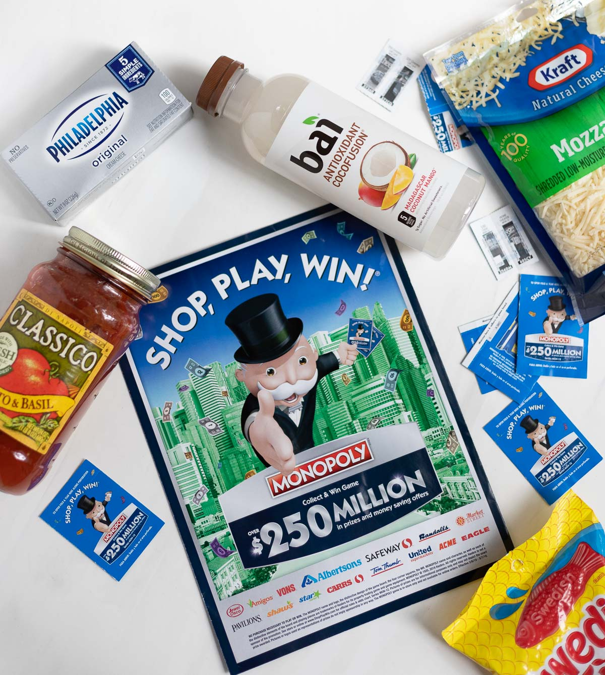 Monopoly Shop, Play, Win game and participating products