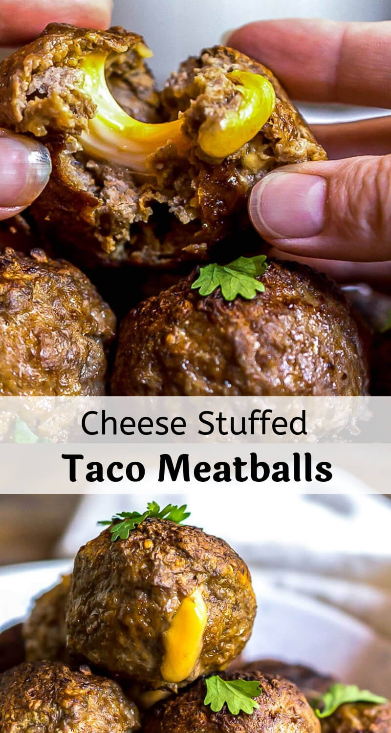 taco and cheese stuffed meatballs recipe photo collage