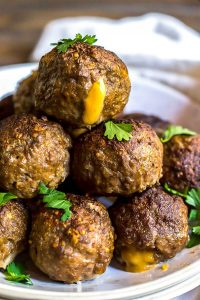 Taco Cheese Stuffed Meatballs
