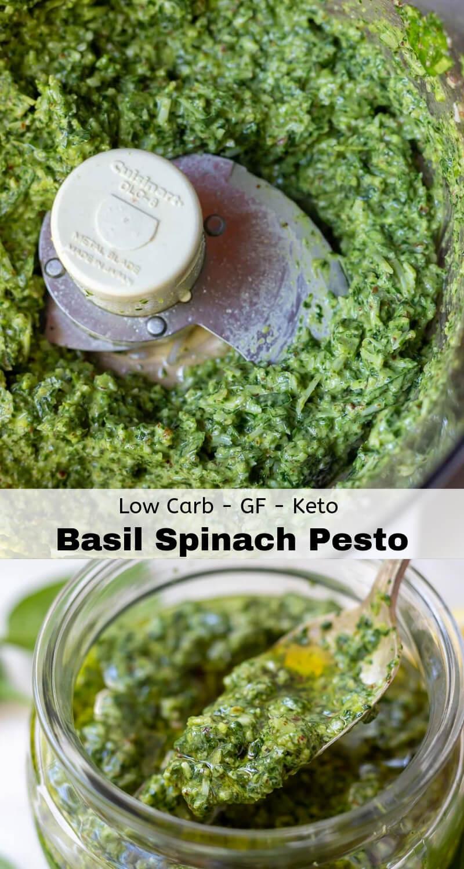 basil spinach pesto recipe photo collage