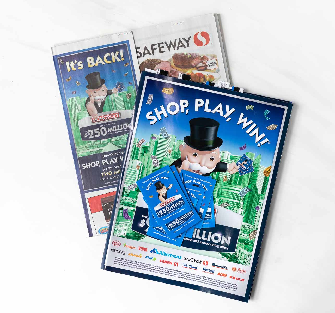 safeway ad and monopoly collect and win game