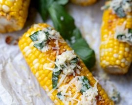 Corn on the Cob in Oven with Parmesan Basil Butter