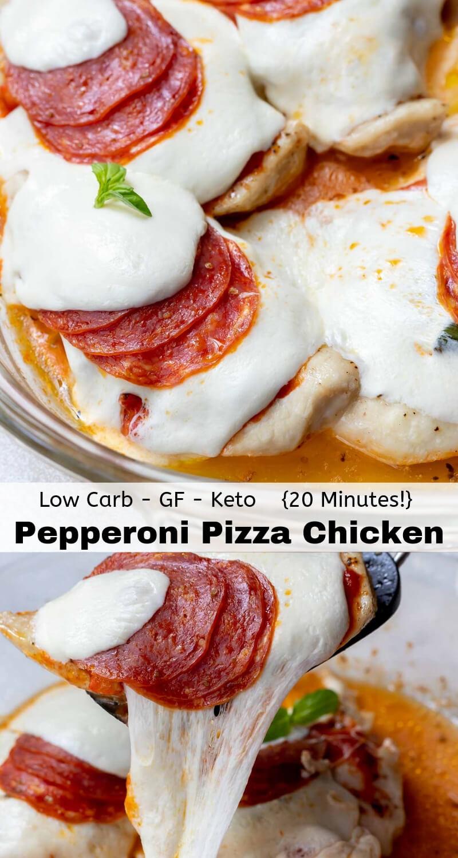 pepperoni pizza chicken breast recipe photo collage