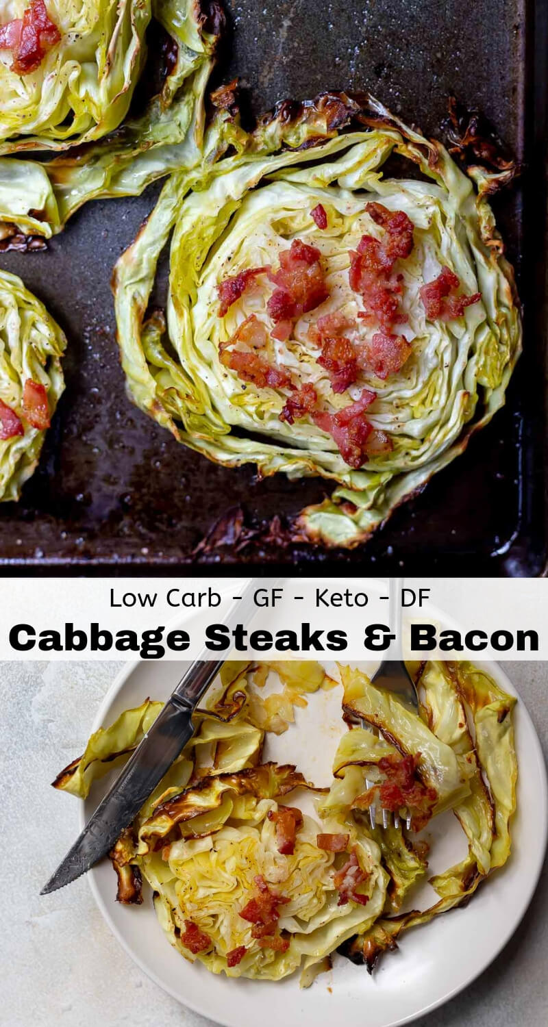 roasted cabbage steaks with bacon recipe photo collage